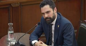 "A video-grab  of the speaker of the Catalan regional parliament, Roger Torrent, as he testified  at the supreme court in Madrid in the so-called ""process"" trial against 12 Catalan separatists leaders. Photograph: EPA"