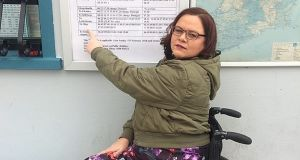 Victoria Matthew at Ballyshannon bus station: her travel problems are unfortunately typical as a report by Rehab shows  90 per cent of people with disabilities find transport options inadequate.