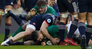 Ireland's only try scorer in the last four matches against the French is scrumhalf Conor Murray (2017). Photograph: Ian Walton/Getty Images