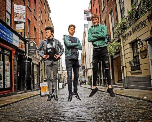 FRESH TALENT: Ireland's Young Film-maker of the Year Awards 2019 finalists Milosh Hughes (18) from Malahide, Seán Tracey (14) from Wicklow, and Cal O'Driscoll (16) from Dublin 7, at the Dublin regional heats of the Fresh Film Festival at the Irish Film Institute. Photograph: Conor Owens/ilovelimerick