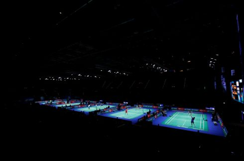SHOT IN THE DARK: The All England Open Badminton Championships get under way in Birmingham. Photograph: Andrew Boyers/Action Images via Reuters
