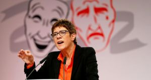 Annegret Kramp-Karrenbauer, leader of Germany's conservative Christian Democratic Union (CDU), speaks during the traditional Ash Wednesday party meeting in Demmin. Photograph: Fabrizio Bensch/Reuters
