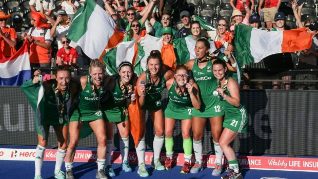 The Irish field hockey team celebrate with their silver medals at the 2018 Women's Hockey World Cup, August 2018. Photograph: Daniel Leal-Olivas/AFP/Getty Images