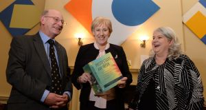 Minister for Business Heather Humphreys  (centre) at the launch of the  book Protestant and Irish which was edited by  Ian d'Alton and Ida Milne. Photograph: Dara Mac Dónaill/The Irish Times.