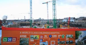 The site of the national children's hospital in Dublin. The €450m overrun in the project, now expected to cost €1.7bn, has led to a major political controversy. Photograph: Gareth Chaney/Collins