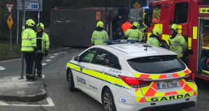 Emergency services on the scene of an incident on the Upper Dargle Road, Bray, Co Wicklow. Photograph: James Kenny