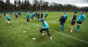 The Ireland squad during a training session at Carton House. Photograph: Billy Stickland/Inpho