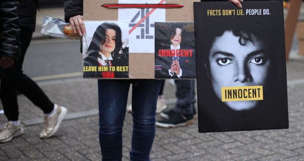 Michael Jackson fans protest outside the headquarters of Channel 4 in  London, ahead of the airing of the documentary Leaving Neverland  earlier this week. Photograph: Yui Mok/PA Wire