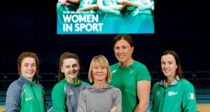 Sport Ireland today launched a new Women in Sport Policy with Grainne Walsh (Boxing), Michaela Walsh (Boxing), Carey May (former Irish Marathon Olympian), Annalise Murphy (Sailing) and Clare Ryan (Swim Ireland) all in attendance. Photograph: James Crombie/Inpho