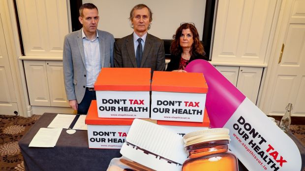 Members of the Irish Health Trade Association protesting against plans to tax health supplements. However, the proposed VAT increase doesn't affect medically advisable vitamin and mineral supplements, but largely non-medical food supplements, sports aids, and slimming aids. Photograph: Maxwell Photography