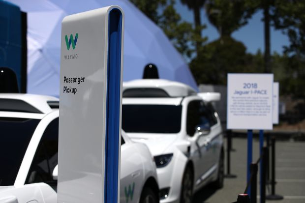 Waymo self-driving vehicles are displayed at the Google I/O 2018 Conference at Shoreline Amphitheater on May 8th, 2018 in Mountain View, California. Photograph: Justin Sullivan/Getty