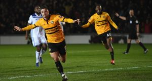 Newport County striker Pádraig Amond celebrates after scoring against Leicester City  in the  FA Cup third-round match  at Rodney Parade at the start of January. Photograph: Stu Forster/Getty Images