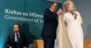 Taoiseach Leo Varadkar, Minister for Education Joe McHugh and Minister of State for Higher Education Mary Mitchell O'Connor  at the launch of the Government's  education plan  at the National College of Art and Design in Dublin. Photograph: Brian Lawless/PA Wire