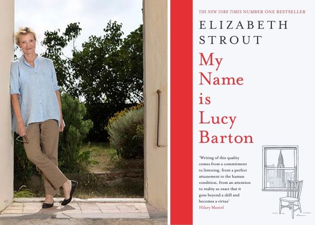 Elizabeth Strout with the cover of her book, My Name Is Lucy Barton. Photograph: PA