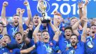 France celebrate their victory in the World  Rugby U-20 Championship final against England. Photograph: Levan Verdzeuli/Getty Images