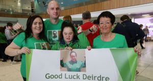 Kayaker Deirdre O'Callaghan (centre) pictured with family members (from left) Michelle, Ciaran and Joyce at Dublin Airport as Team Ireland depart for the 2019 Special Olympics World Summer Games in Abu Dhabi. Photograph: Laura Hutton/The Irish Times