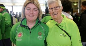 Swimmer Aisling Beacom from Wicklow Town and her mother Pam at Dublin Airport. Photograph: Laura Hutton/The Irish Times