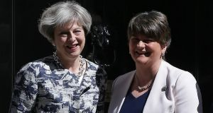 British prime minister Theresa May and DUP leader Arlene Foster. Photograph: Daniel Leal-Olivas/AFP/Getty Images