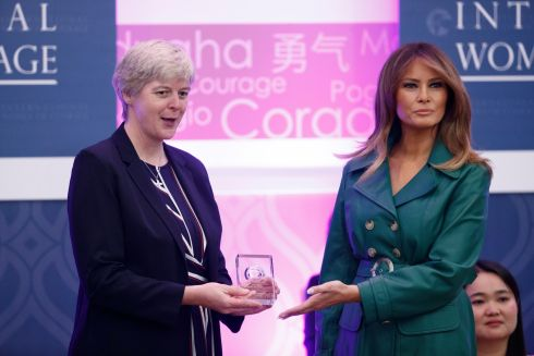 US first lady Melania Trump (R) presents Sister Orla Treacy, an Irish nun with the Loreto Order, with the International Women of Courage Award for her work with young women and girls in conflict-torn South Sudan. The award is presented annually by the US department of state to women around the world who have shown leadership, courage, resourcefulness, and willingness to sacrifice for others, especially in promoting women's rights. Photograph: Shawn Thew/EPA