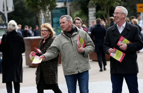 From left, Labour's Jan O'Sullivan, People Before Profit's Richard Boyd Barrett and Labour's Kevin Humpries hand out leaflets on Grafton Street to promote a demonstration in Dublin on Saturday demanding public and affordable housing for all. Photograph: Laura Hutton/The Irish Times