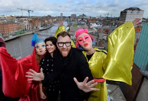 Deirdre O'Kane (second from left) and Jason Byrne (centre) at the announcement that they will be Grand Marshals for this year's National St Patrick's Festival Parade in Dublin. Photograph: Alan Betson/The Irish Times