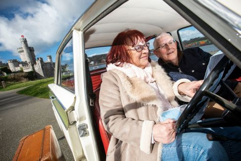 Wellness consultant and former TV presenter Bibi Baskin and John Noel Cronin, national treasurer of Active Retirement Ireland sit in a Ford Cortina at Blackrock Castle in Cork. The pair launched the Active Retirement trade and tourism show, which takes place at Punchestown, Co Kildare, on June 5th
