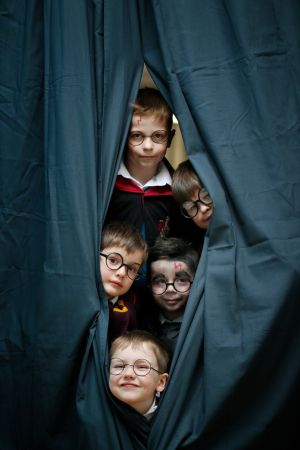 Pupils of St Laurence's National School in Greystones, Co Wicklow, (from top) Aidan Henry, Benen Dallahan, Sean Kelly, Tom Lawlor and James Collins dressed up as Harry Potter, as their school transformed into the fictional school of witchcraft and wizardry, Hogwarts, to celebrate World Book Day. Photograph: Nick Bradshaw/The Irish Times