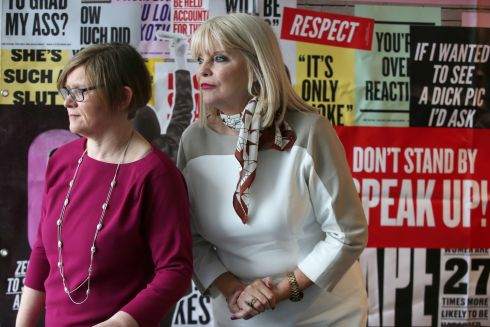 Orla O'Connor (left) of the National Women's Council of Ireland and Minister of State for Higher Education Mary Mitchell O'Connor at a conference organised by the National Women's Council of Ireland to launch the campaign, It Stops Now, calling for an end to violence against women on campuses and at institutes of higher education. Photograph: Laura Hutton/The Irish Times