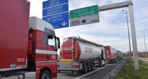 The A16 motorway between Dunkirk and Calais shows trucks heading to the Channel tunnel stuck in a traffic jam as a result of the strike. Photograph: Philippe Huguen/AFP/Getty Images
