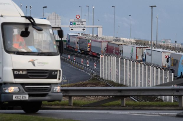 A line of trucks snakes along an access road leading towards the port of Calais on March 6th. Photograph: Leon Neal/Getty
