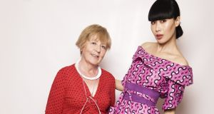 Kristina McElroy and Yomiko Chen: On McElroy's 65th birthday, she was delighted to be a finalist in a UCD young fashion designer's competition. Her design, a pink party dress, had an Japanese style obi belt. Photograph: Lilly Rose
