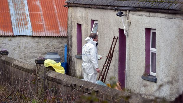 Gardaí on the scene where Paddy Lyons was murdered at his home in Ballysaggart, Co Waterford. Photograph: Michael Mac Sweeeney/Provision