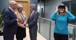 Minister for Business Heather Humphreys and Minister of State for Training John Halligan at the announcement of the  investment of more than €100 million in six new SFI centres for research training.