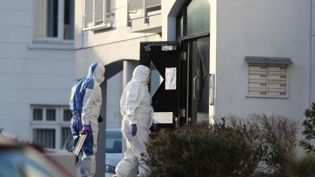 Police forensic officers at Glin Ree Court in Newry, Co Down on Thursday. Photograph: Niall Carson/PA