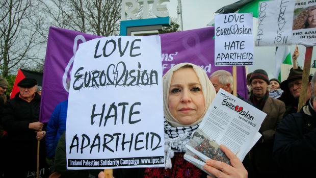 Ireland-Palestine Solidarity Campaign chairwoman Fatin Al Tamimi during a Boycott Eurovision protest outside RTÉ Studios, Dublin. Photograph: Gareth Chaney/Collins