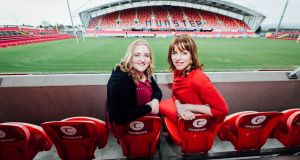 Lorraine Lordan (left) of Cartoon Saloon and  former  Irish rugby international Fiona Steed pictured at Network Ireland's Celebration of International Women's Day 2019 at Thomond Park, Limerick. Photograph: Brian Arthur