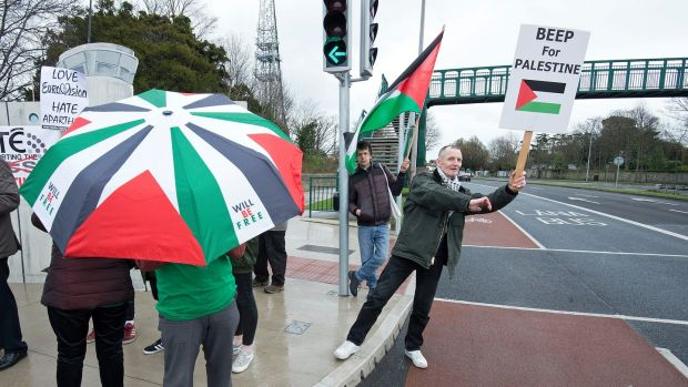 Former teacher Mick Cuddy, a supporter of the Ireland-Palestine Solidarity Campaign outside RTÉ in Dublin. Photograph: Dave Meehan