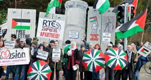The Musicians Union of Ireland called on its members to attend a protest at RTÉ, organised by the Ireland-Palestine Solidarity Campaign, which called for a boycott of the Eurovision Song Contest, to be held in Israel this year. Photograph: Dave Meehan