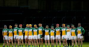 Offaly line up for the Allianz  League clash against Laois in O'Moore Park. Photograph: Ryan Byrne/Inpho
