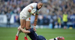 "A tackle on France's Gael Fickou in Stade De France, Paris. ""He has beaten lads on the outside, and, having played on the wing, he has proved he is fast enough."" Photograph:  Adam Davy/PA Wire"