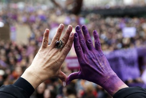 Thousands of people take part in a rally on the occasion of the International Women's Day in Bilbao, northern Spain,   EPA/LUIS TEJIDO