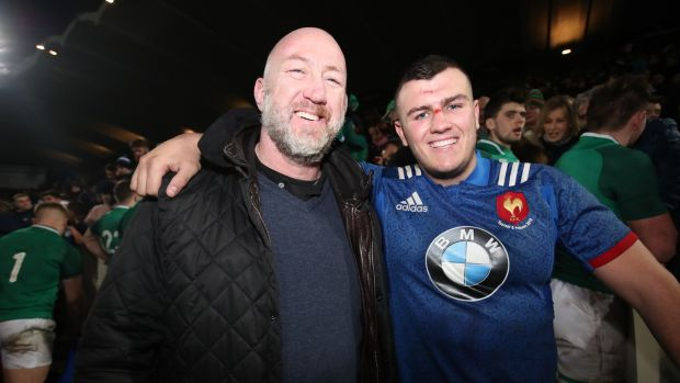 Former Ireland international Trevor Brennan with his son, France Under-20 international Daniel Brennan, following their Six Nations U20 match against Ireland at Stade Chaban-Delmas in Bordeaux in February 2018. Photograph: Bryan Keane/Inpho