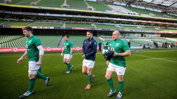 Iain Henderson, Niall Scannell, Conor Murray and Rory Best at the Captain's Run at the Aviva stadium. Photograph: Ryan Byrne/Inpho
