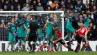 James Warde-Prowse scores Southampton's winning free-kick against Spurs. Photograph: David Klein/Reuters