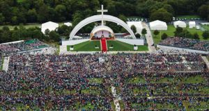 An aerial view of the crowd at Phoenix Park as Pope Francis attends the closing Mass at the World Meeting of Families in August, 2018. Photograph:  Liam McBurney-Pool/Getty Images