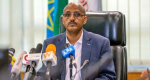 Ethiopian Airlines CEO Tewolde Gebremariam holds a press briefing at the headquarters of Ethiopian Airlines in Addis Ababa, Ethiopia, on  Sunday. Photograph: Mulugeta Ayene/AP