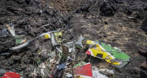 Wreckage lies at the scene of the crash  some 50km south of Addis Ababa. Photograph: AP