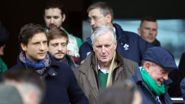 EU's chief Brexit negotiator Michel Barnier at the game. Photograph: Tom Honan/ The Irish Times.