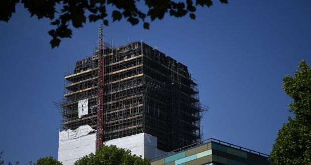 The remains of Grenfell Tower in London, after a fire broke out in June 2017, killing 71 people. File photograph: Neil Hall/EPA
