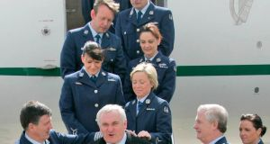 Then taoiseach Bertie Ahern   before boarding the Government Jet  at Casement Aerodrome in April 2008 with Lisa Smith on the extreme right. Photograph:  Colin Keegan/Collins